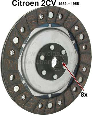 Citroen-2CV Clutch disk for 2CV, from year of construction 1952 to 1955. 8 teeth.