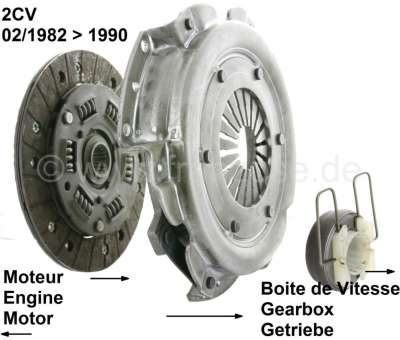 Citroen-2CV Clutch set for Citroen 2CV6, starting from 02/1982, with torsion bars. The new clutch disk