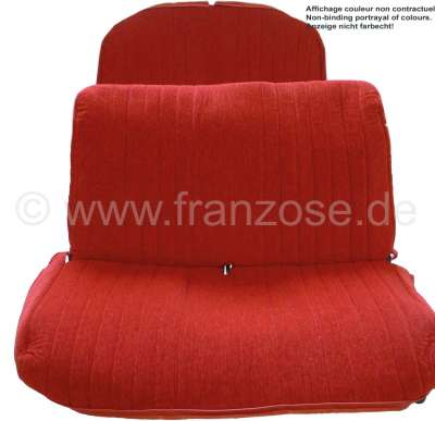 Citroen-2CV Covering 2CV AZAM, seat bench in front + rear. Color: red (Rouge). Made in France.