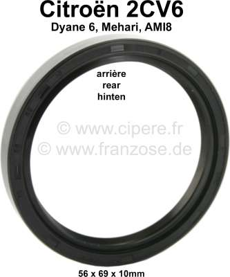 Citroen-2CV Shaft seal crankshaft rear, for Citroen 2CV6. Measurements: 56x69x10mm