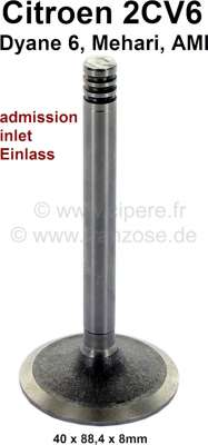Citroen-2CV Inlet valve for 2CV6, 40 x 88,4 x 8 mm. Or.no.: 95536026