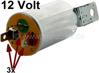 Citroen-2CV Flasher relay round, 12 V. 3x electric connections. Reproduction of the original round fla