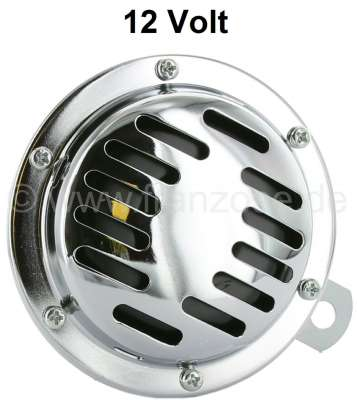 Citroen-2CV Horn, 12Volt. Universal fitting. Diameter 100mm! The horn is chromium-plated.