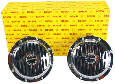 Citroen-2CV Horn set (2 pieces) chrom-plated, from Bosch. Frequencies: 325 and 400 Hertz. Volume: 118