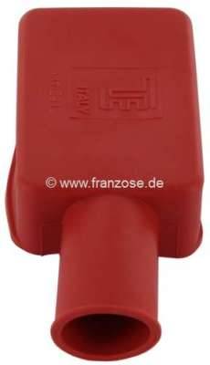 Citroen-2CV Battery pole protecting cap from rubber. Color: red. Length: 52mm. Width: 35mm. Short side