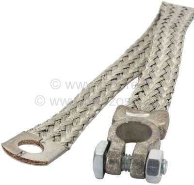 Citroen-2CV Ground cable (battery ground strap), with battery pole clamp ring tongue. Length: 350mm. C