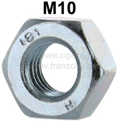 Citroen-2CV Nut M10, for the stud bolt for connection engine and gearbox. Suitable for Citroen 2CV, Dy