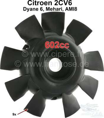 Citroen-2CV Fan blade for 2CV6, 9 vanes, color black. Original supplier. Securement with 6 screws.