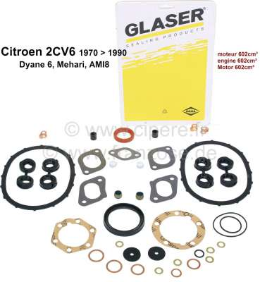 Citroen-2CV 2CV6, 602ccm, engine gasket set inclusive. Shaft seals and ventil stem sealing. Suitable f