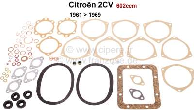 Citroen-2CV 2CV, 602ccm, engine gasket set without shaft seals. Installed from year of construction 19
