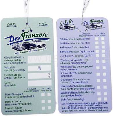 Citroen-2CV Oil change cards (10 fittings)