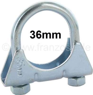 Citroen-2CV 2CV6, exhaust clip rear muffler. Specially strong U-shaped bracket clip, maximum diameter