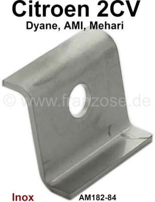 Citroen-2CV 2CV6, tail pipe securement clamp sheet metal. This sheet metal is for the centric rubber f
