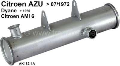 Citroen-2CV AMI6/AZU/DYANE, front muffler round, under the engine. Installed in Citroen AZU to 07/1972