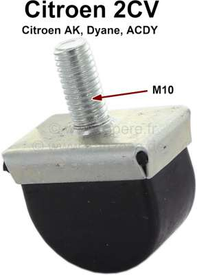 Citroen-2CV Rubber stop for the front axle, mounts laterally at the chassis. Suitable for Citroen 2CV,