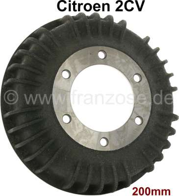 Citroen-2CV Drum in front. Suitable for Citroen 2CV. 200mm diameter, 6x securement. The drum is outsid