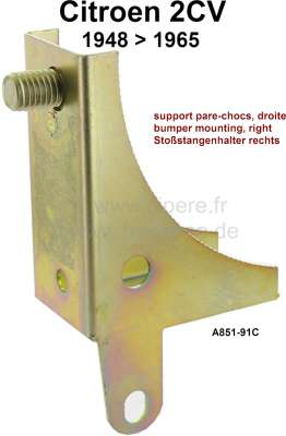 Citroen-2CV Bumper mounting bracket in front on the right. Suitable for Citroen 2CV + AZU, of year of