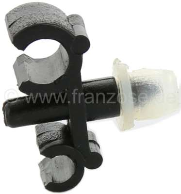 Citroen-2CV Brake line + fuel line fixture. Mounted laterally at the chassis. Suitable for Citroen 2CV