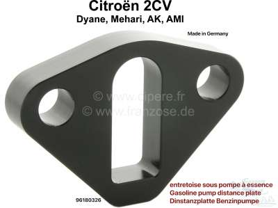 Citroen-2CV Gasoline pump distance plate for Citroen 2CV4 + 6. Made ones in European Union. The isolat