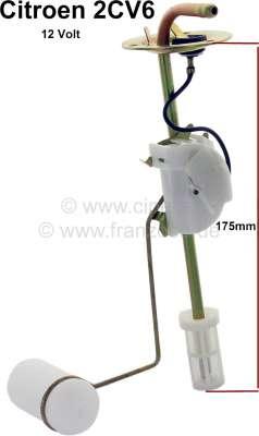Citroen-2CV Fuel sender for Citroen 2CV6, reproduction! 12 Volt. Depth about 180mm.