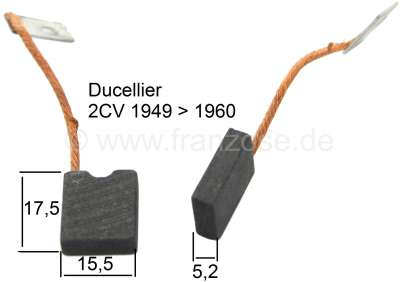 Citroen-2CV Generator Brush Set DUCELLIER, for Citroen 2CV, from year of construction 1949 to 1960.  C