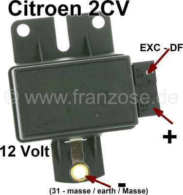 Citroen-2CV Generators battery charging regulators electronically, to attach. 12 V. Suitable for Citro