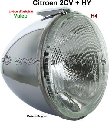 Citroen-2CV Headlamp chrom-plated, with H4 reflector. Suitable for Citroen 2CV, HY.  Original form, pl