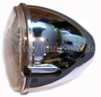 Citroen-2CV Headlamp chromi-plated with H4 reflector, for Citroen 2CV + HY. Reproduction from India! O