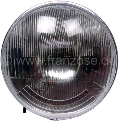 Citroen-2CV Headlight insert round, H4. Suitable for Citroen 2CV, HY. Per piece. Reproduction. Manufac