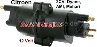 Citroen-2CV Ignition coil Citroen 2CV, 12 Volt, original brand,  If the 2cv stutters, the coil is ofte