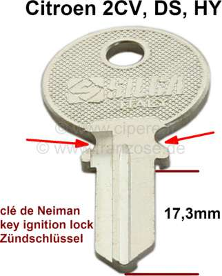 Citroen-2CV Ignition lock key blank, suitable for Citroen 2CV, DS, HY. (small version, ignition key ha