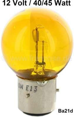 Citroen-2CV Bulb 12 V, 40/45 Watt, yellow, bases with 3 pins, Ba21d