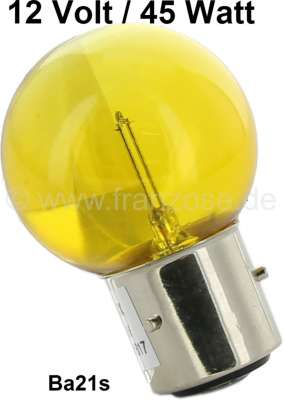 Renault Bulb 12 V, 45 Watts, yellow, bases with 3 pins, Ba21s.