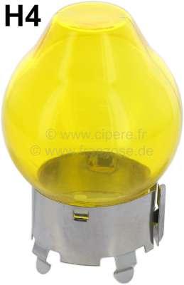 Citroen-2CV Bulb 12 V. H4, glass yellow for H4 lamp. The glass is inverted over the H4 lamp. The glass