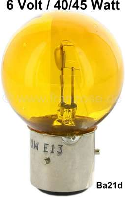 Citroen-2CV Bulb 6 V, 45/40 Watt. in yellow!! Base with 3 pins, base Ba21d. 2CV early years of constru