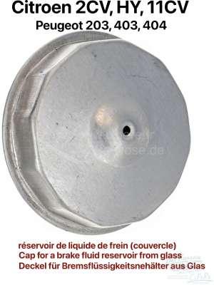 Citroen-2CV Cap for a brake fluid reservoir from glass. Thread about 44mm. Suitable for Citroen 11CV,