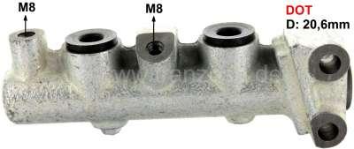 Citroen-2CV Master brake cylinder, brake system DOT. Dual circuit brake system. Piston diameter: 20,6m