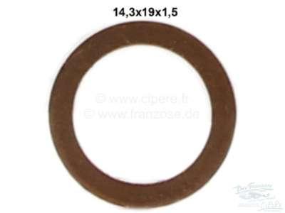 Citroen-2CV Copper sealing ring, diameter inside 14,3mm. (14,3x19x1,5)