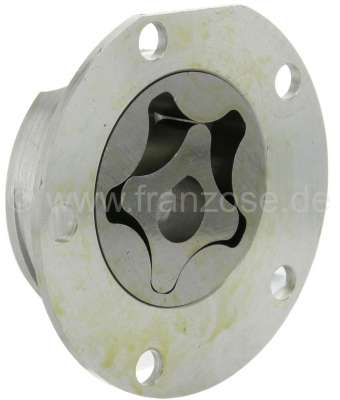 Citroen-2CV Oil pump for 2CV6, reproduction, inclusive Aluminum casing. Pump impeller is 10.5 mm heavi