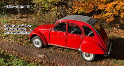 Citroen-2CV 2CV old, soft top hood grey, outside closing (Gris Cormoran), normal back window. Made in