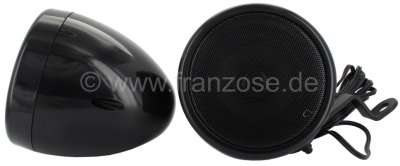 Peugeot Car deck speaker pair with 7 cm round casing, bracket included. Black color. Diameter: 104