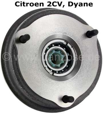Citroen-2CV Brake drum rear (new part), with mounted wheel bearing. The brake drum is ready for assemb