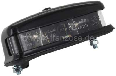 Renault License plate light made of metal. Black . Width : 116mm. Depth : 51mm. Overall height: 38