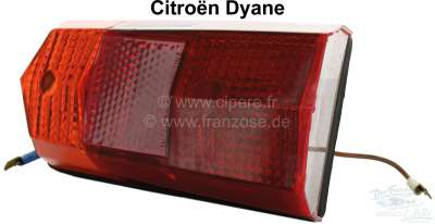 Citroen-2CV Tail lamp for Citroen Dyane, completely with license plate light. Reproduction, without E-