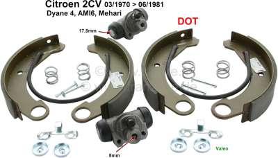Citroen-2CV Brake shoe set rear, with wheel brake cylinders (piston 17,5mm). Suitable for Citroen 2CV4