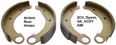 Citroen-2CV Brake shoes rear. Suitable for Citroen 2CV, Dyane, AK, ACDY, AMI. Good reproduction from t