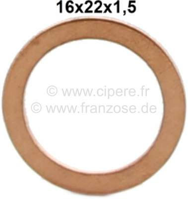 Citroen-2CV Copper seal type A, (full copper). 16x22x1,5mm.