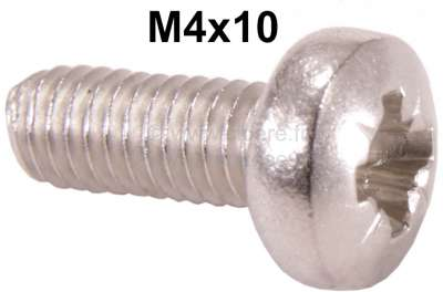 Citroen-DS-11CV-HY Cross lens head screw (M4x10) from stainless steel, for round indicator + stop light. For