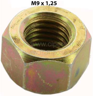 Renault M9, nut M9x1,25. For example mounting drive shaft at the gearbox for 2CV. Amount: 9mm.