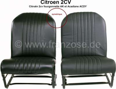 Citroen-2CV 2CV, Covering front seat (2x) on the left + on the right. Symetric, vinyl black, the surfa